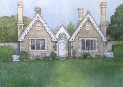 "Almshouses Bishopstone. 7""x9"".Watercolour on paper."