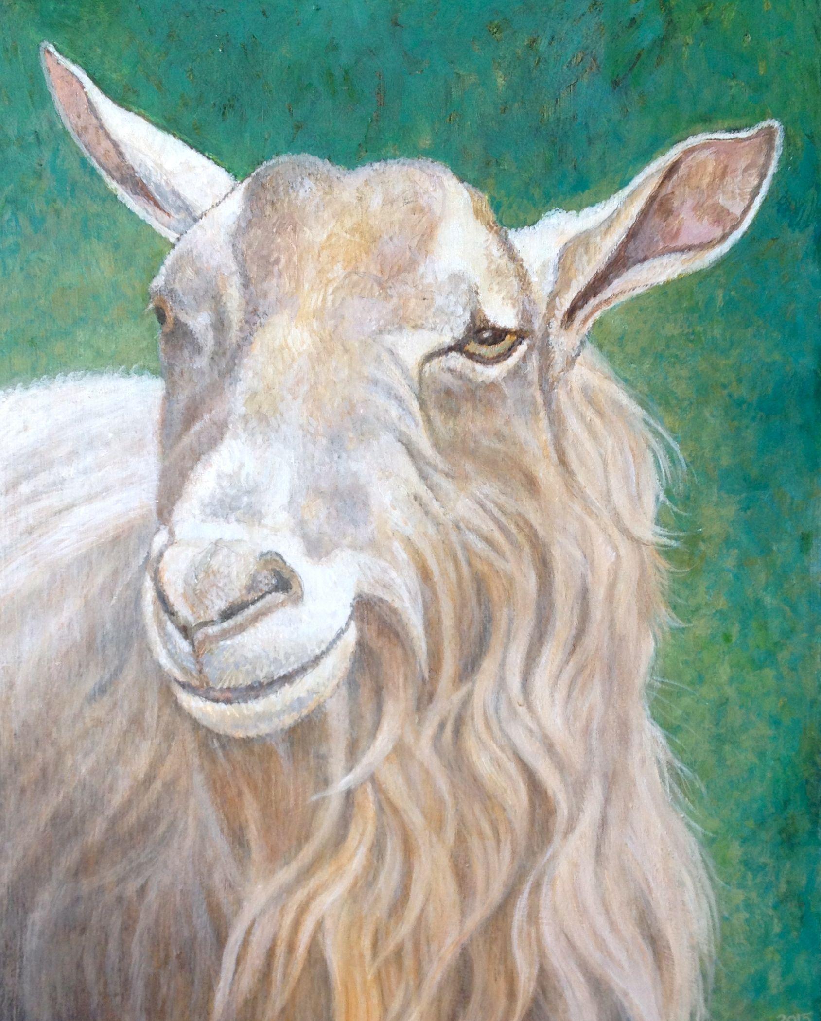 "Goat. 11""x14"". Acrylic on board."