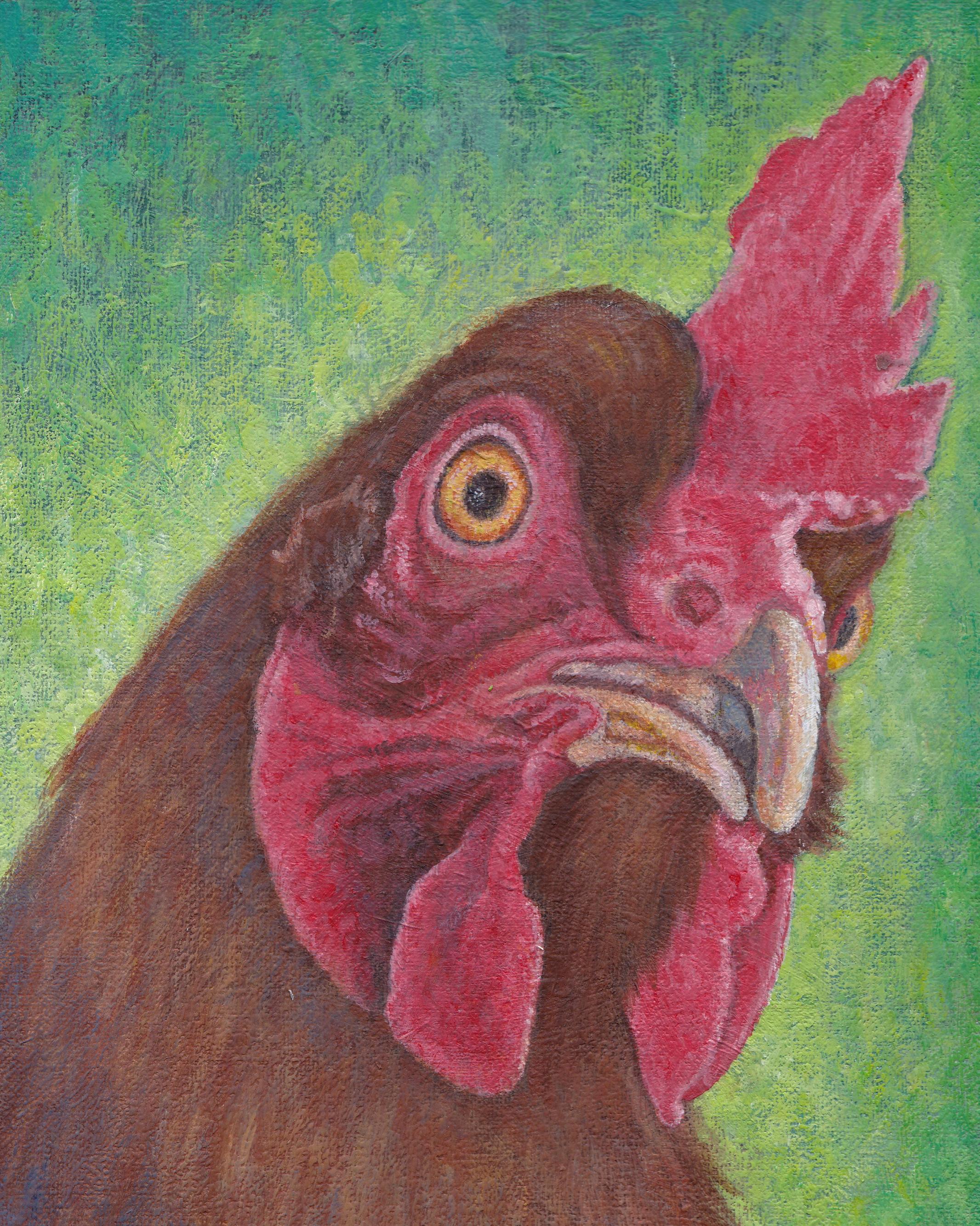 """Hen. 8""""x10"""". Acrylic on canvas."""