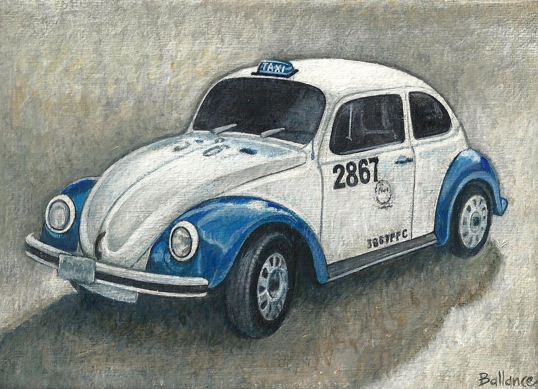 "Mexican Taxi. 5""x7"". Acrylic on canvas"