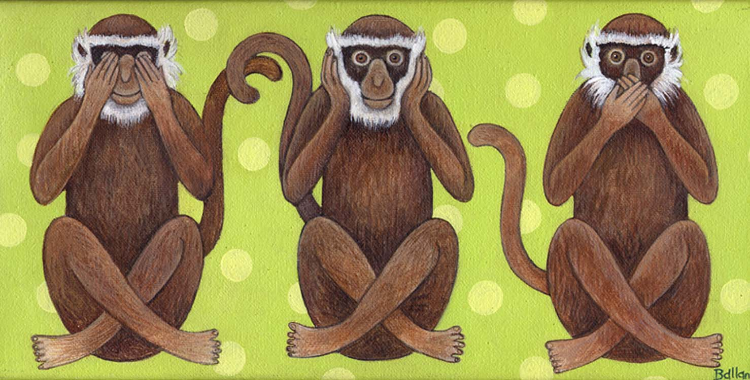 """3 monkeys 6""""x12"""" £125"""