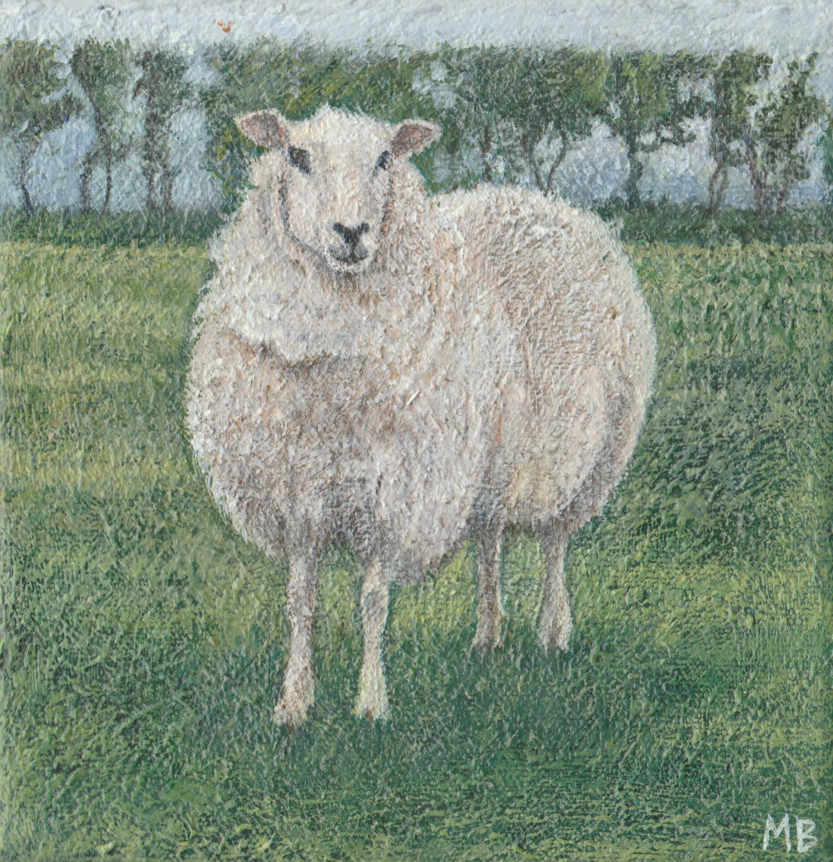 """Sheep on the Downs 6""""x6"""" £95"""
